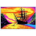 Sunset Bay Ship Blacklight Poster