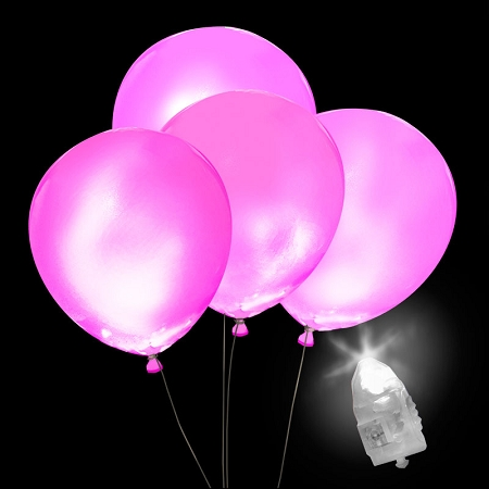 All Occasions 5 Pack PINK LED Balloons Pink LED light up balloons