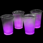 Cool Glow 12oz. Cups with collars and 50 Super Bright Shorties, Purple (50 Pack)