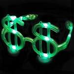 Flashing LED Dollar Glasses (Green)