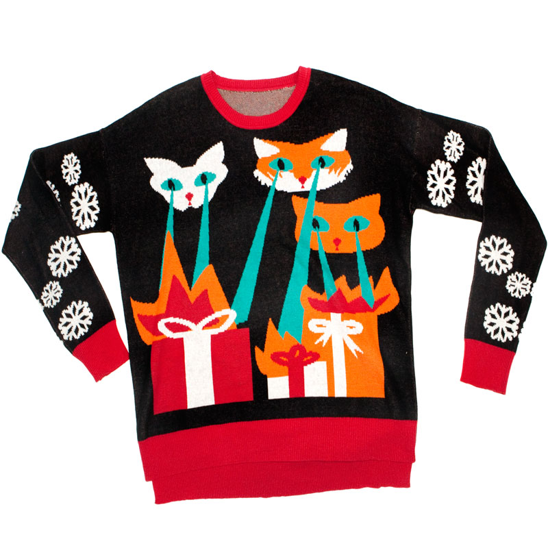 Ugly Christmas Sweater: Laser Cat-Zillas | Glowsource.com