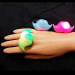 Flashing Jelly Mustache Ring