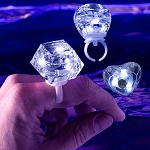 White LED Diamond Bling Rings Assorted Shapes