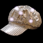 Newsboy Hat Silver with LED lights