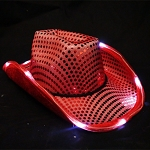 Red LED Flashing Cowboy Hat