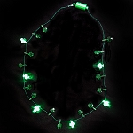 Shamrock Bead LED Necklace - Green LED