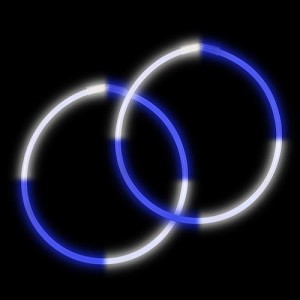 "22"" Bi-Glow Necklaces - Blue/White/Blue/White (50-Pack)"