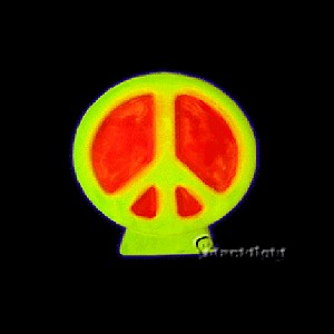Blacklight Reactive Peace Sign Candle