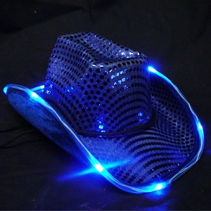 Blue LED Flashing Cowboy Hat