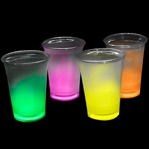 Cool Glow 12oz. Cups with collars and 50 Super Bright Shorties, Assorted (50 Pack)
