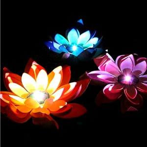 "3"" Light Up Waterproof Lotus White Casing- Red, Blue, Yellow LEDs"