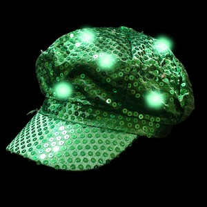 Newsboy Hat Green with LED lights