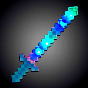 "24"" Light Up Blue Pixel Sword RGB"