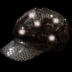 Newsboy Hat Black with LED lights