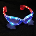 Patriotic Flashing Sunglasses- Red/White/Blue